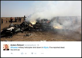俄羅斯:直升機在敍利亞遭擊落 5人喪生