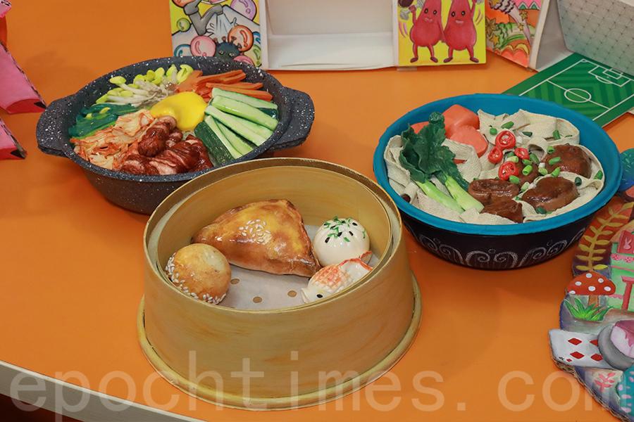 「3E探索號」課程中,用黏土製作出一系列栩栩如生的美食作品。(陳仲明/大紀元)