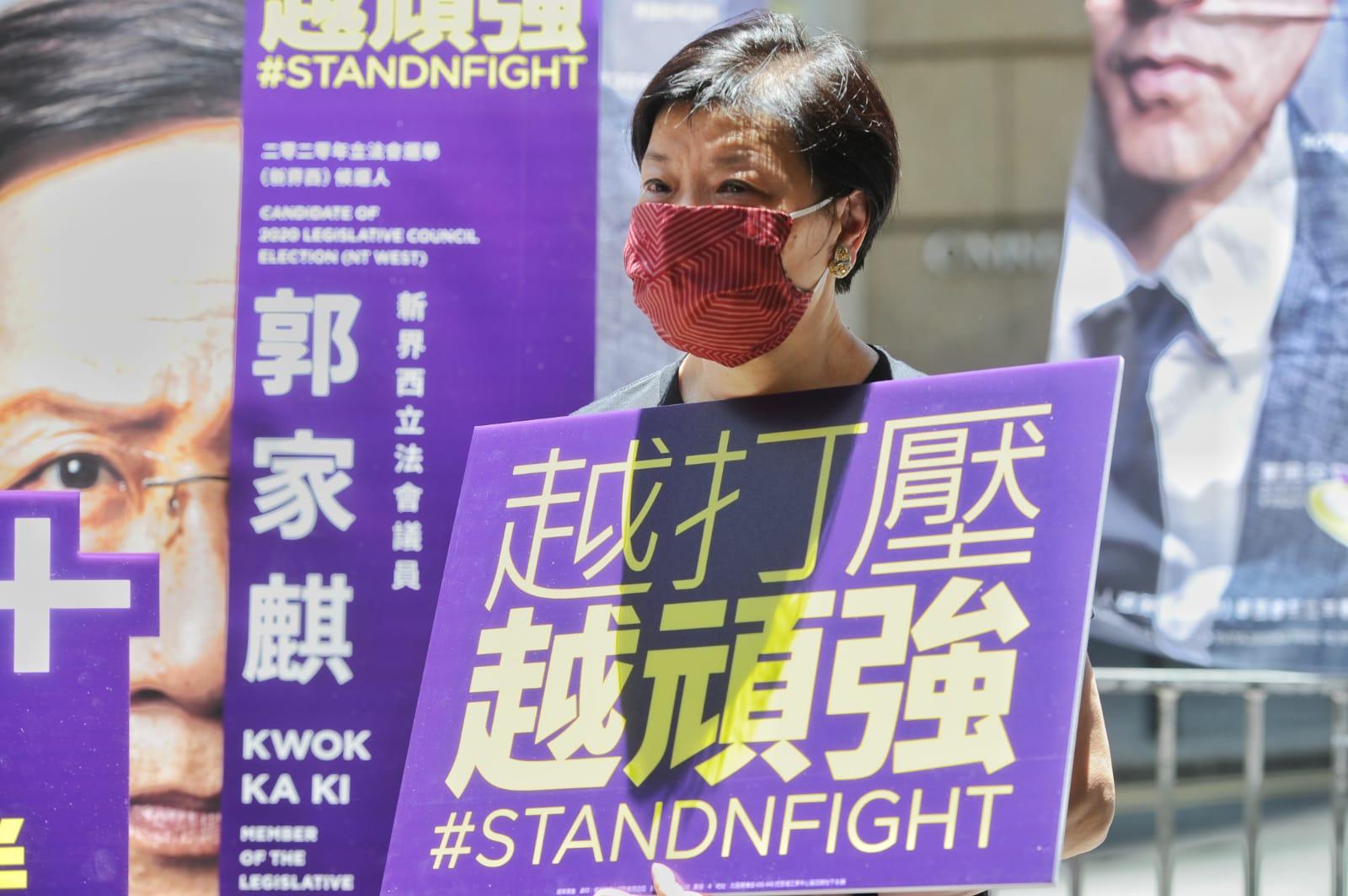 前公民黨黨魁及主席、資深大律師余若薇今日也出來為公民黨即將參與初選的人士打氣,她表示,面對「國安法」,香港人越打壓,越頑強。(郭威利/大紀元)