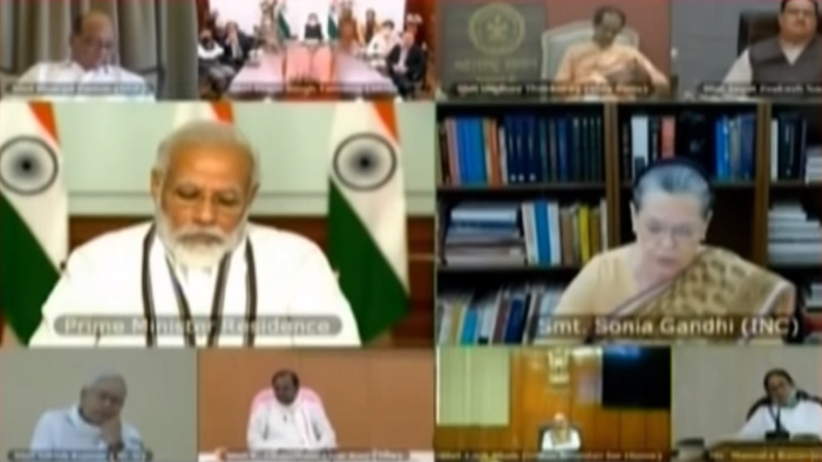 印度總理莫迪19日傍晚邀集各黨領袖就中印邊境局勢召開所有政黨會議。(影片截圖)