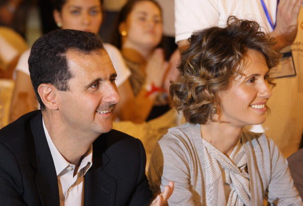 敘利亞總統阿薩德和妻子阿斯瑪(Asma al-Assad)。(LOUAI BESHARA/AFP via Getty Images)