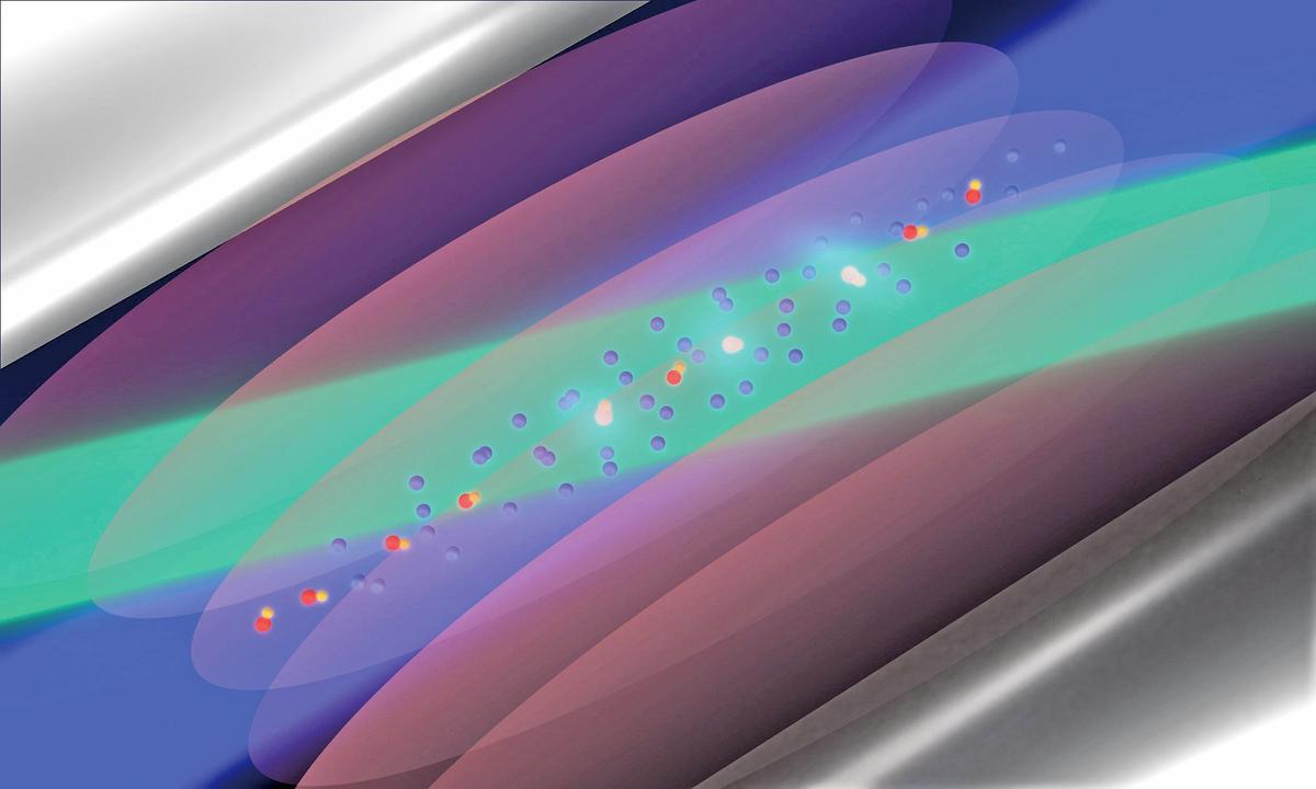 通過光譜技術確定質子和氘子之間的距離示意圖。(杜塞爾多夫大學)
