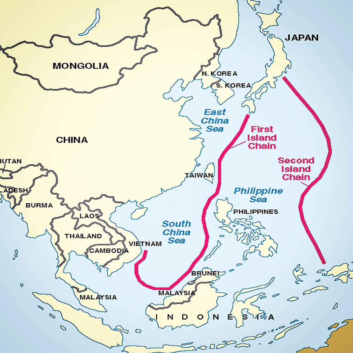 第一島鏈和第二島鏈示意圖