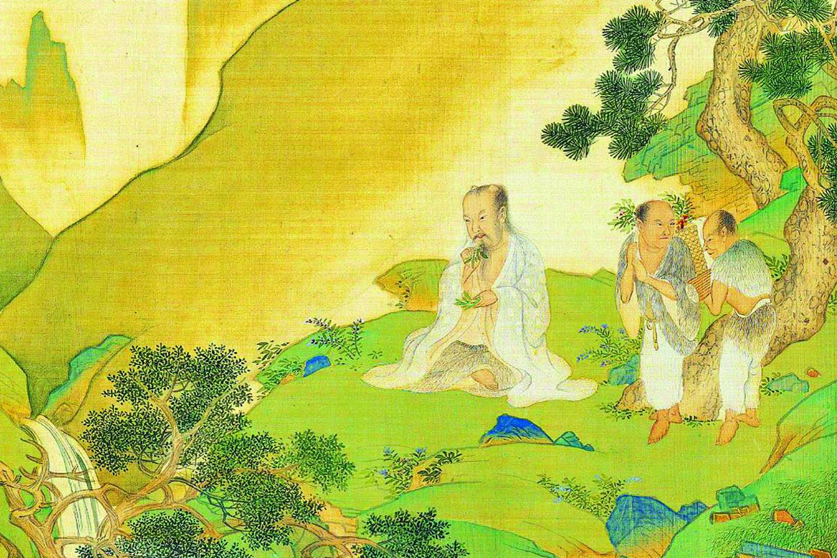 中醫最早起源於神農嚐百草。神農即「炎帝」。圖為神農氏像,出自明仇英《帝王道統萬年圖》。(公有領域)