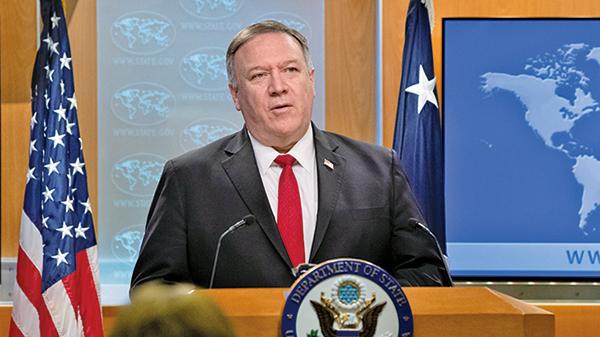 美國國務卿蓬佩奧通過網絡視頻,對哥本哈根民主峰會,就「中國挑戰」發表講話,呼籲歐洲捍衛民主應對中共挑戰。(Getty Images)