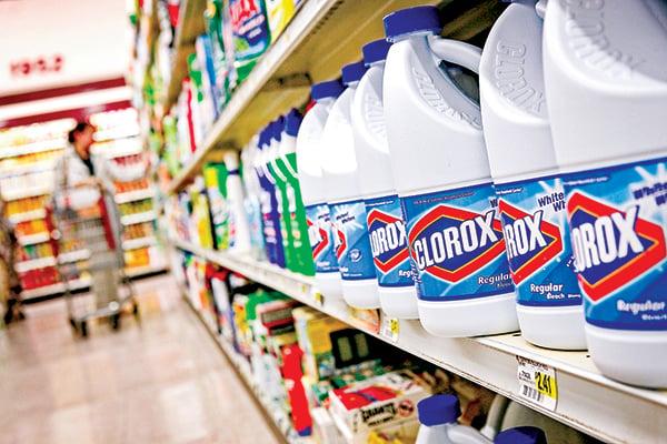 2月11日,舊金山一家超市裏由消費產品生產和經銷商高樂氏生產的漂白液。(Getty Images)