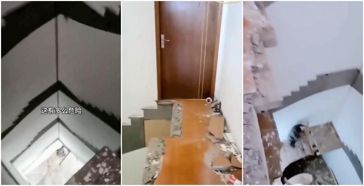「中國製造」驚魂:五樓住戶清早出門發現樓梯不見了.