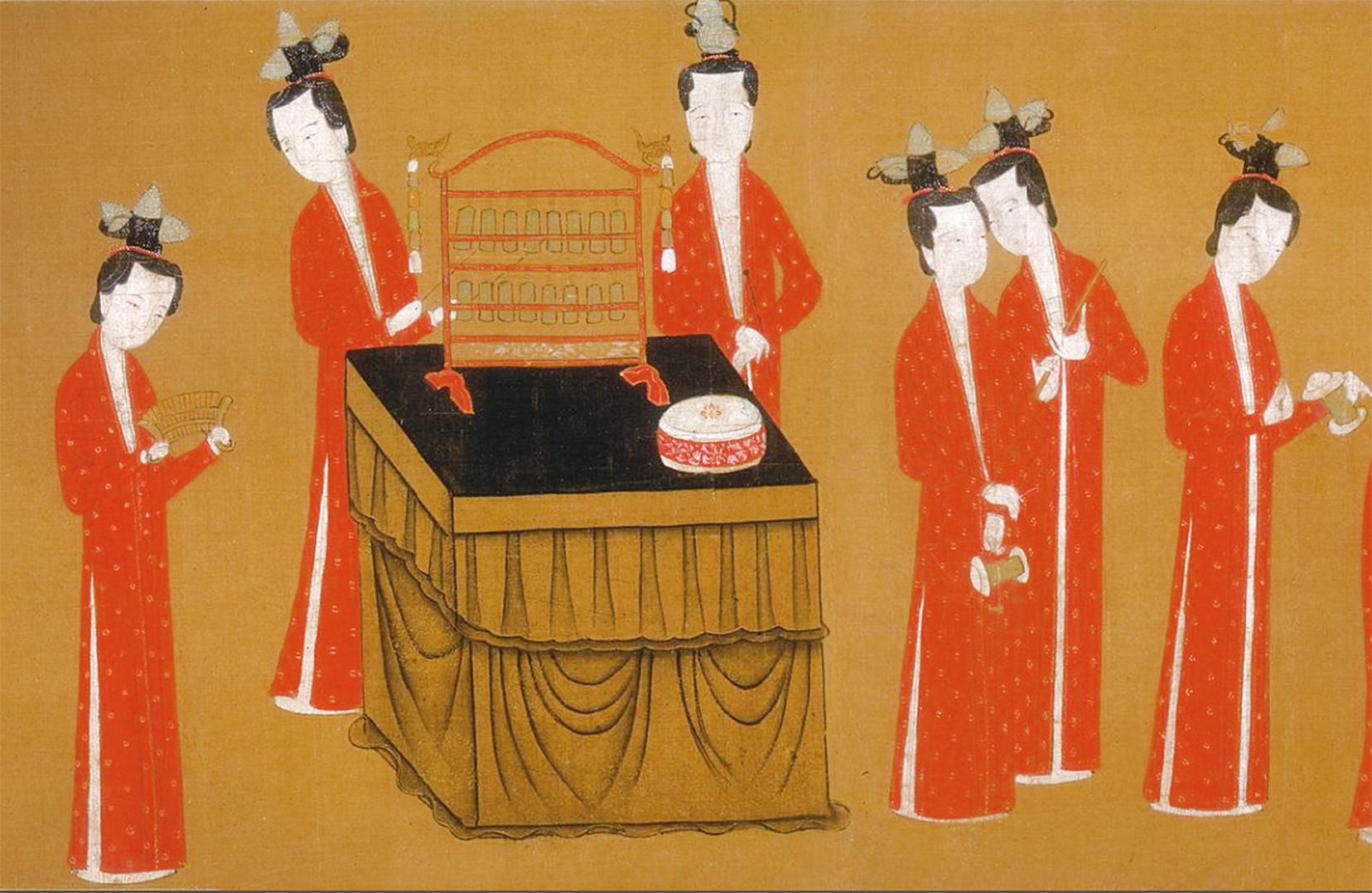 《歌樂圖》局部,南宋人繪(公有領域)