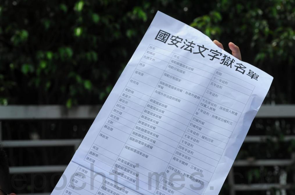 6月25日端午節,十餘名社民連成員前往中聯辦抗議「港版國安法」,並展示因「國安」罪名被捕的大陸政治犯名單。(宋碧龍/大紀元)