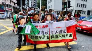 社民連到中聯辦抗議國安法