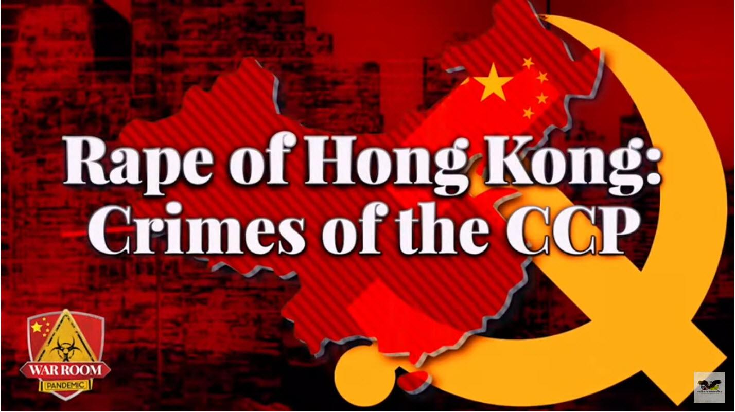 這是班農每周末討論有關中共話題的固定節目。這次專題的名字是:「強姦香港:中共的罪行」(Raping of Hong Kong: Crimes of the CCP)。(影片截圖)