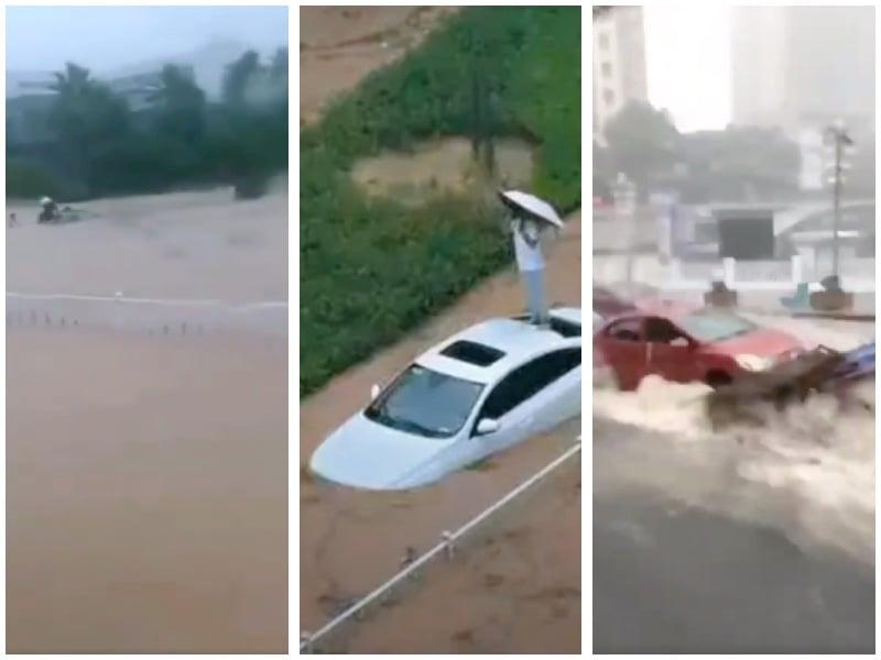 宜昌城市中心全部被淹沒,市民抱怨這是政府只保三峽大壩和葛洲壩洩洪所致。(視頻合成圖)