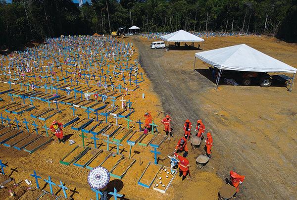 2020年6月2日,在中共病毒大流行期間,巴西馬瑙斯塔魯馬附近的公墓挖墓者在埋葬死者。(AFP)