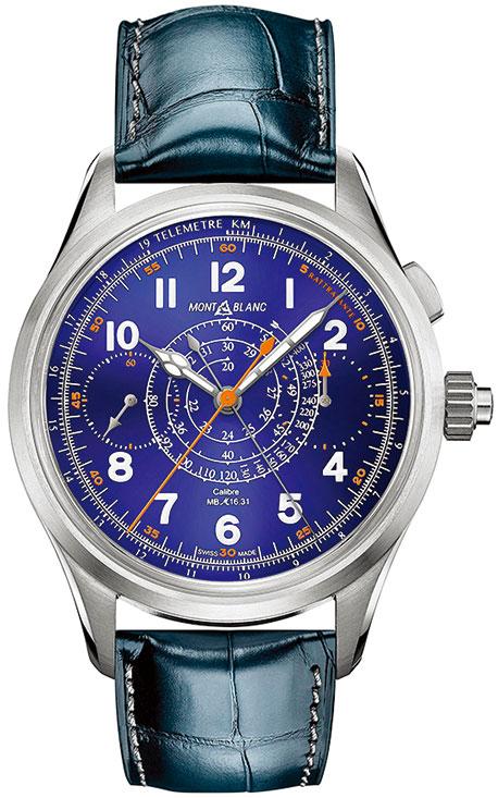 萬寶龍1858系列腕錶,結合自製游絲與手工整飾技術。