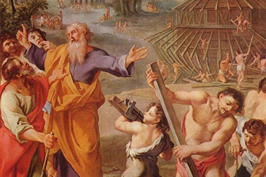 1675年法國畫家所繪的諾亞方舟,描述諾亞建造船時的故事。(公有領域)