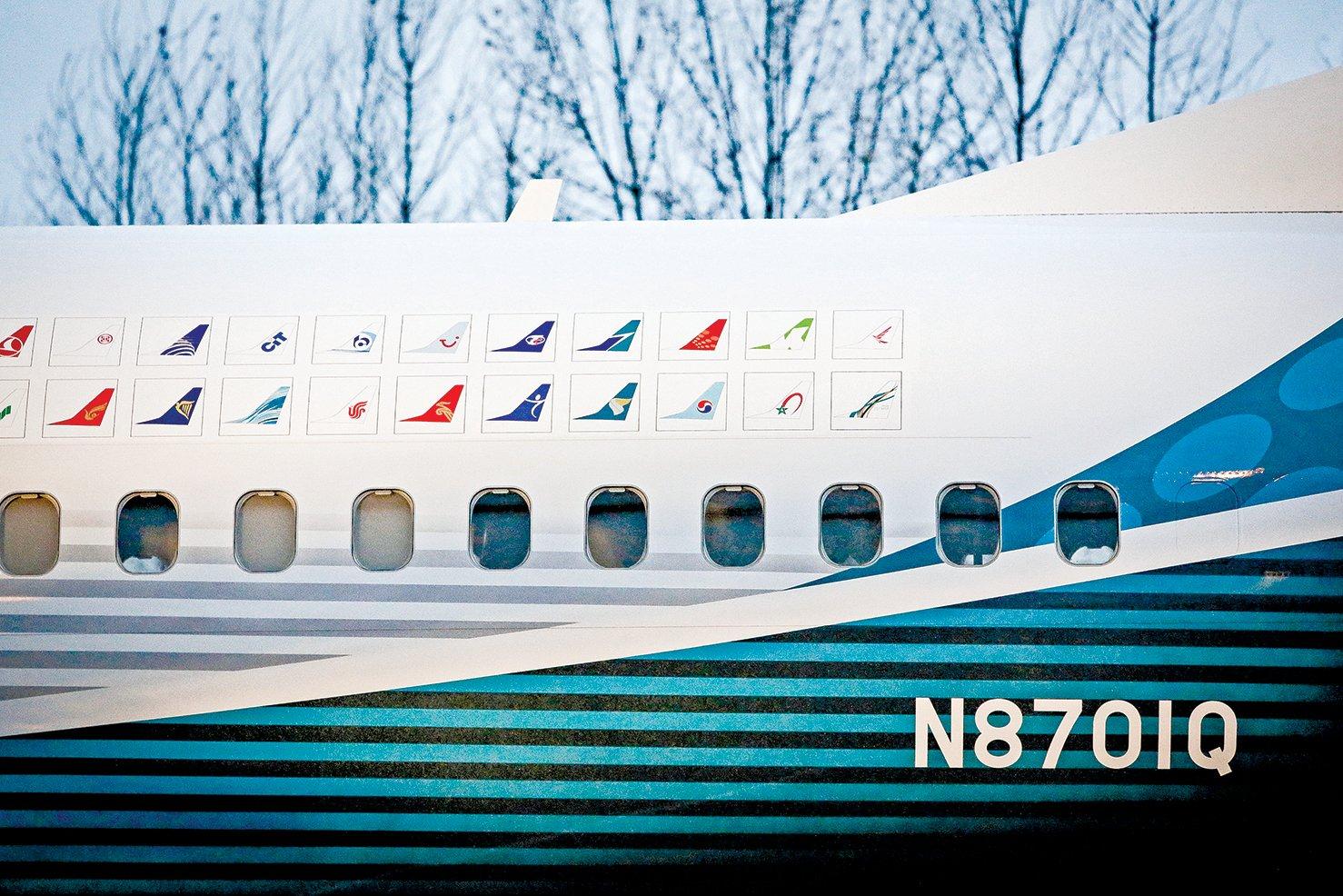 2015年12月8日,波音華盛頓州倫頓(Renton)廠停泊的首家737 Max飛機。(Getty Images)