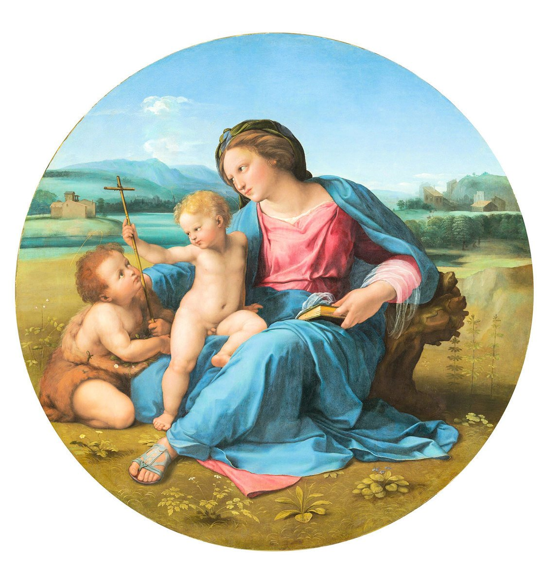 拉斐爾的作品《阿爾巴的聖母》(The Alba Madonna)細部,約1510年。油彩、畫板,140.34 × 15.88 公分。華盛頓國家藝廊收藏。(公有領域)
