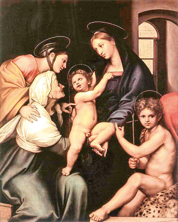 拉斐爾的作品《蓋布的聖母》(Madonna dell'Impannata) ,1511年。油彩、畫板,158 x 125公分。意大利佛羅倫斯烏菲茲美術館收藏。(公有領域)