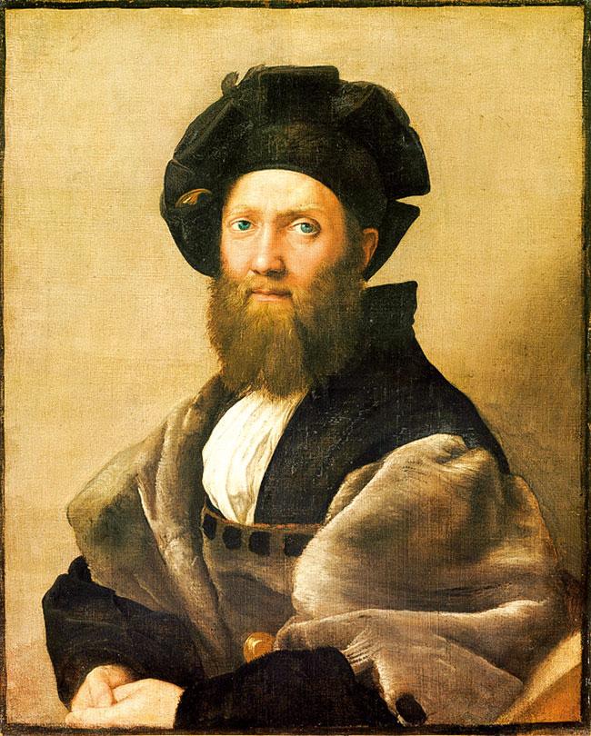 拉斐爾的作品《巴達薩列·卡斯提里奧尼肖像》(Portrait of Baldassare Castiglione),1513年。油彩、畫布,82 × 67公分。收藏於巴黎羅浮宮。(公有領域)