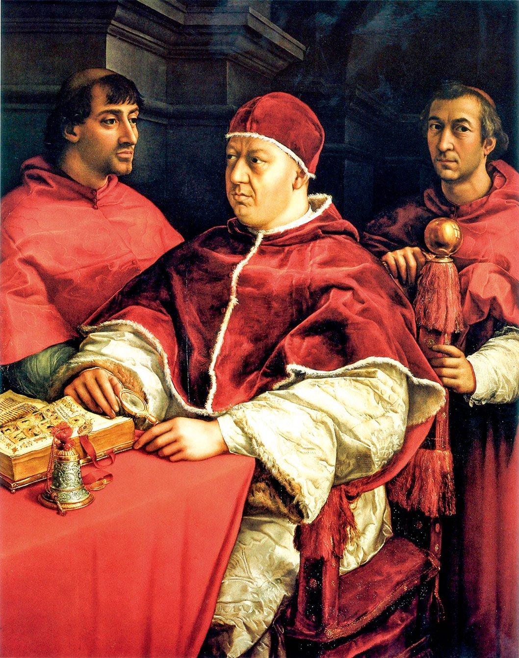 拉斐爾的作品《教宗利奧十世及兩位紅衣主教》(Portrait of Pope Leo X between Cardinals Giulio de' Medici (L) and Luigi de' Rossi),1518~1519年。油彩、畫板,154 x 119公分。收藏於佛羅倫斯烏菲茲美術館。(公有領域)