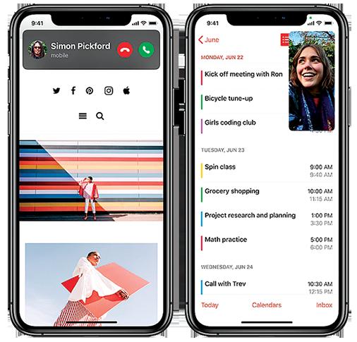 iOS 14中,來電顯示、喚醒Siri等不再佔用整個螢幕,還增加了畫中畫功能,容許使用者在手機做其它事情的時候,還能繼續保持影片的播放。(蘋果官方視頻截圖)