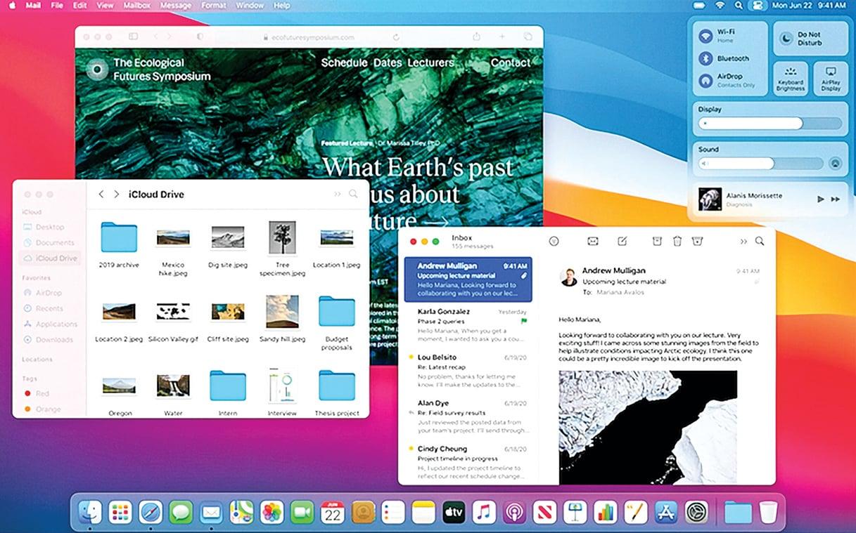 在WWDC 2020上,蘋果發佈了新的MacOS Big Sur,採用更簡潔介面,更貼近iOS。(蘋果官方視頻截圖)