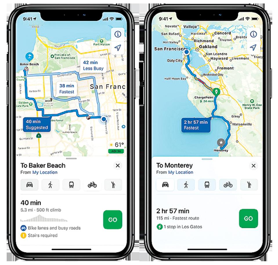 iOS 14中,Apple Maps蘋果地圖新增了自行車模式,還有電動車的導航路線。(蘋果官方視頻截圖)