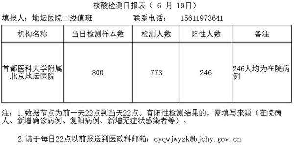 北京市地壇醫院6月19日上報的《核酸檢測日報表》。(大紀元)