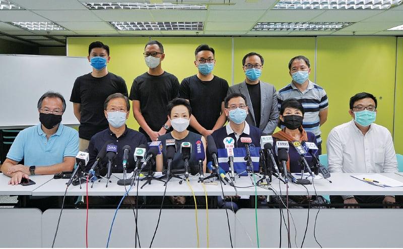 民主派昨早舉行記者會,批評「港版國安法」將大陸「人治」引入香港。(宋碧龍/大紀元)