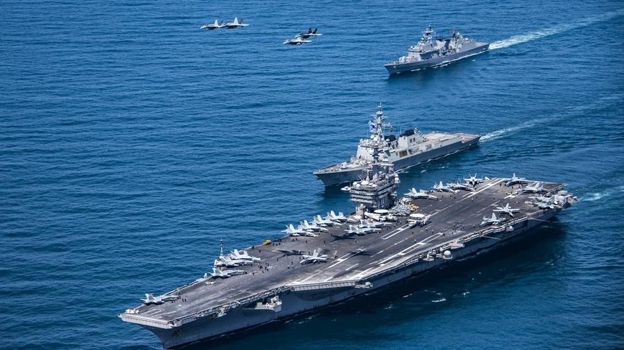 罕見!中美同時在南海軍演 美2航母艦戰鬥群參演