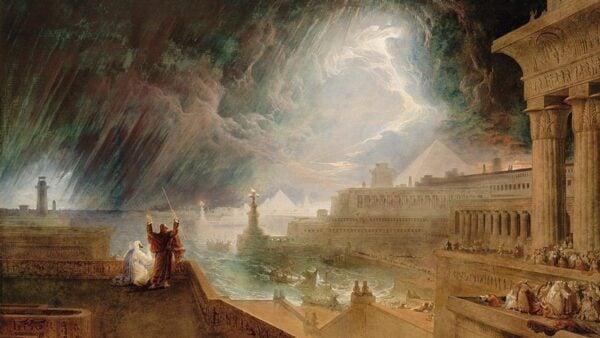埃及遭遇到的十災中的第七災:降雹和閃電。(John Martin 1823年畫作,波士頓美術館藏)