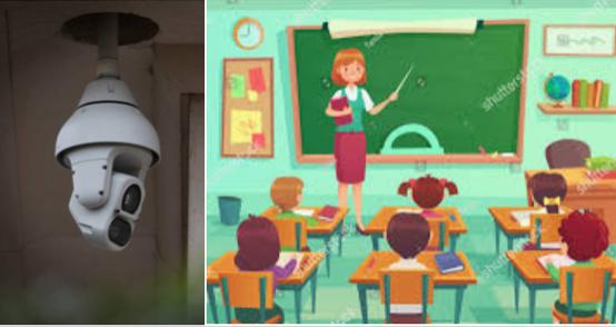 自由黨議員張宇人在立法會教育事務委員會開會期間提出建議,籲在全港學校安裝CCTV閉路電視,就「國安法」監察教師教學。示意圖。(Pinterest/ 大紀元)