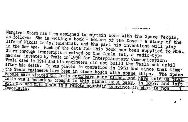 FBI公佈的一份解密文件名為「Nikola Tesla Part03 of03」,揭示特斯拉來自「金星」。(網絡截圖)
