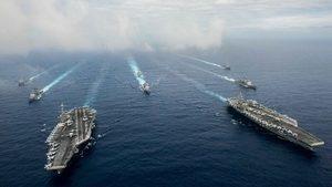 美中南海同時軍演 美國雙航母超豪華戰陣亮相