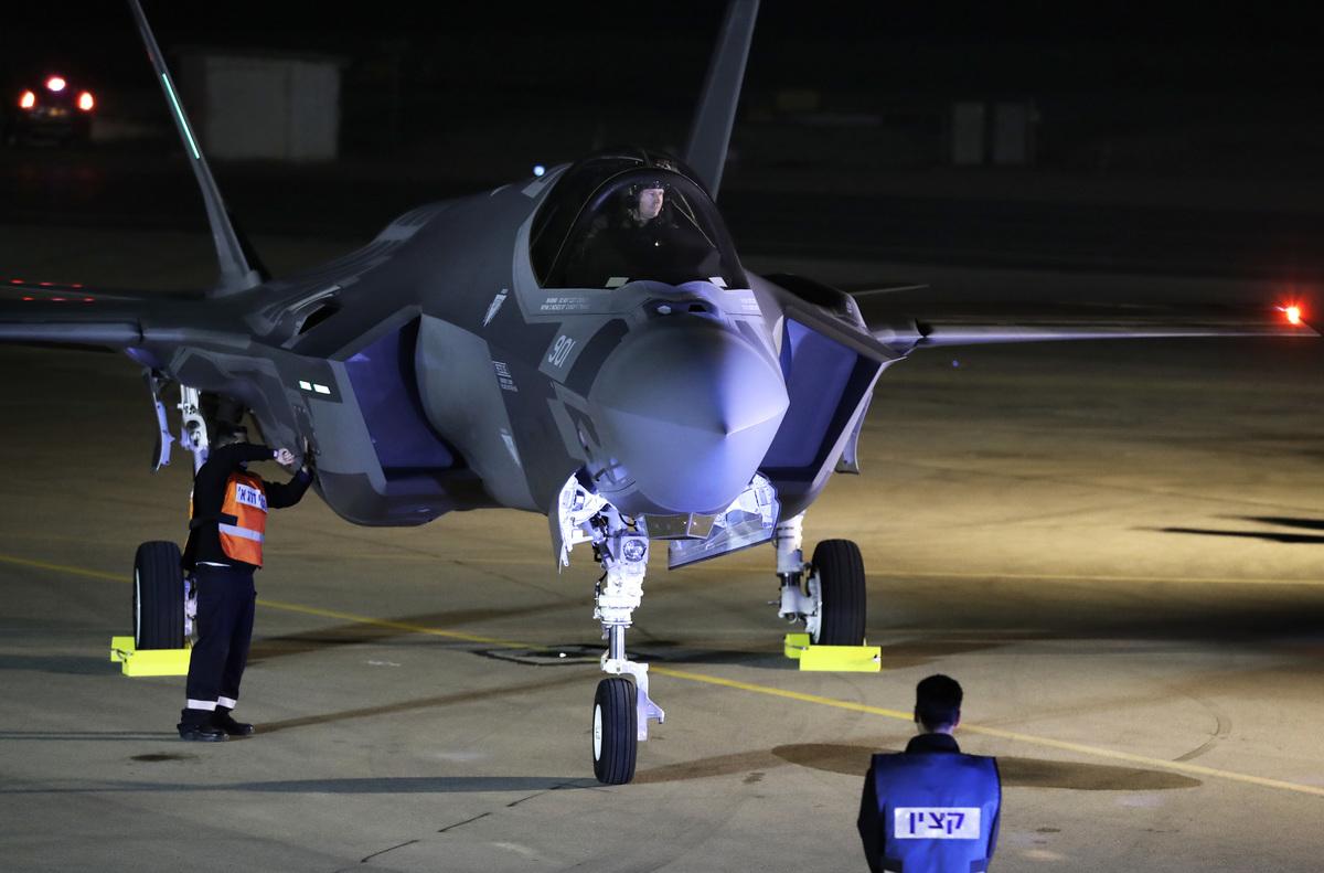 以色列出動多架F35戰機長途飛越多國,成功炸毀伊朗一座重要的導彈生產基地。圖為F35隱形戰機。(Photo credit should read JACK GUEZ/AFP via Getty Images)