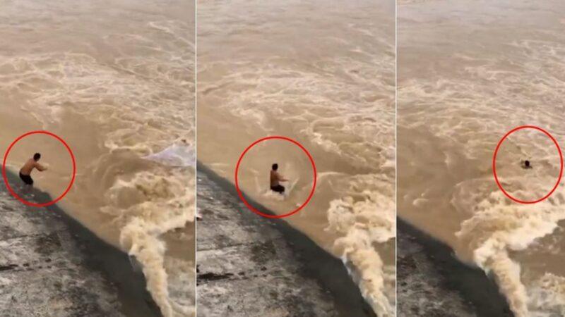 湖南省許多河流水位持續上漲,一名男子捕魚僅6秒被洪水吞沒。(影片截圖)