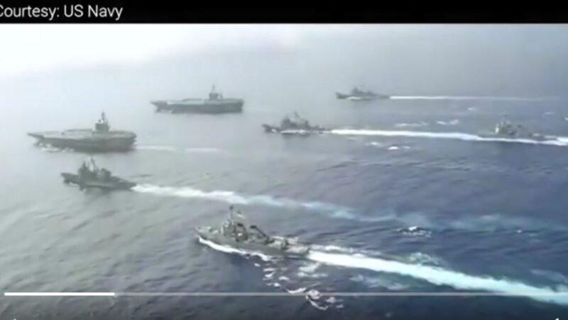 2020年7月4日,美國軍方公佈了兩艘航母帶領戰鬥群駛入南海進行軍事訓練的消息。(影片截圖)