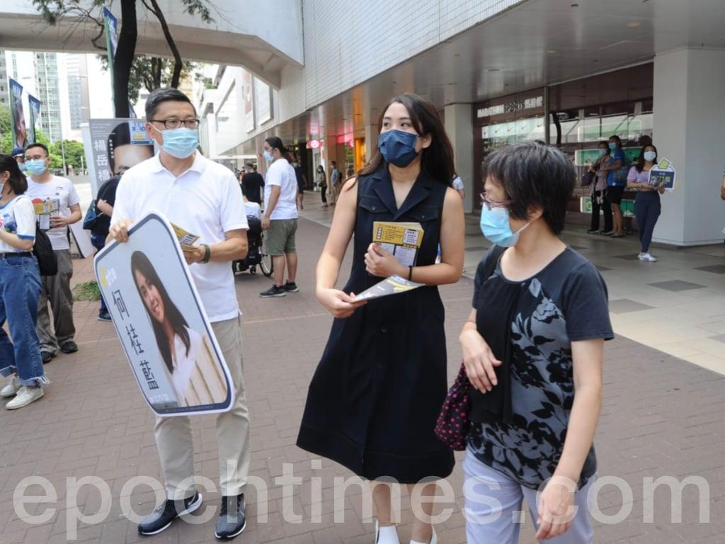 何桂藍同時感謝昨日參與投票的市民,她也都希望今日能有更多市民參與投票,不要等到「摸門釘(已關門)」,錯失良機。(宋碧龍/大紀元)