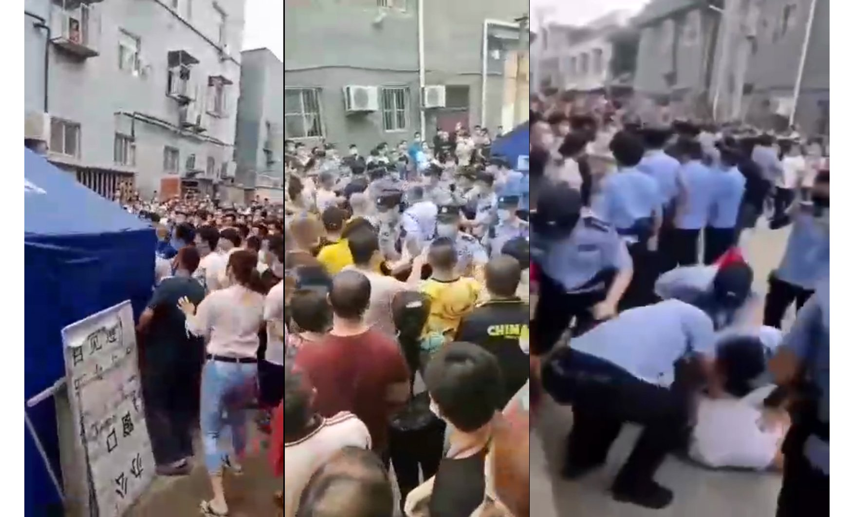 2020年7月12日,北京市大興區西紅門鎮第一村村莊卡口登記處發生警民衝突,警察暴力對付村民,被打村民喊救命。(大紀元合成)