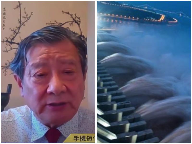 黃觀鴻博士等人近六年來一直致力「用良心和科學看住三峽大壩」,他表示今年的洪水暴露了三峽設計最大缺陷。(視頻截圖合成)