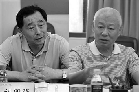 7月13日,海南省政協副主席、前統戰部長王勇(右)與遼寧省原副省長政協原副主席劉國強(左)被查。(網絡圖片)