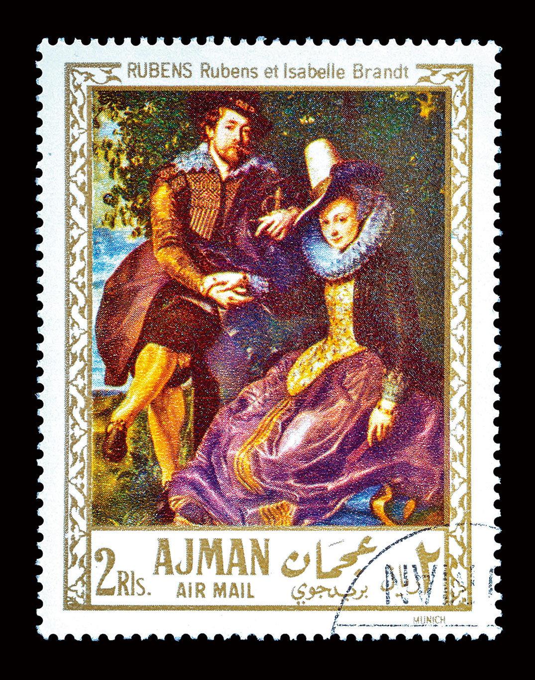 魯本斯是位熱情澎湃、豐富多產的畫家,郵票中的圖畫,是他在1609年為結婚而做的作品:《畫家與妻子》,油畫,178x136.5cm,現藏於德國慕尼黑舊美術館(Alte Pinakothek)。