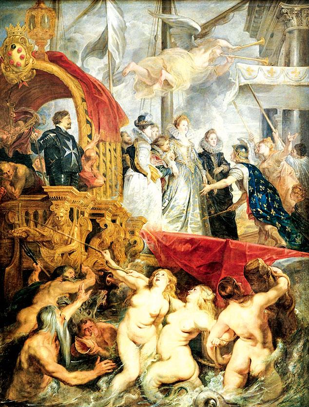 魯本斯為巴黎的盧森堡宮製作的「瑪莉美迪奇的生平」系列作品,此為其中一幅《瑪莉.麥第奇王后在馬賽登陸》,油畫,1623~1625年,394x295cm,現藏於巴黎羅浮宮。天上人間渾然一體。(公有領域)