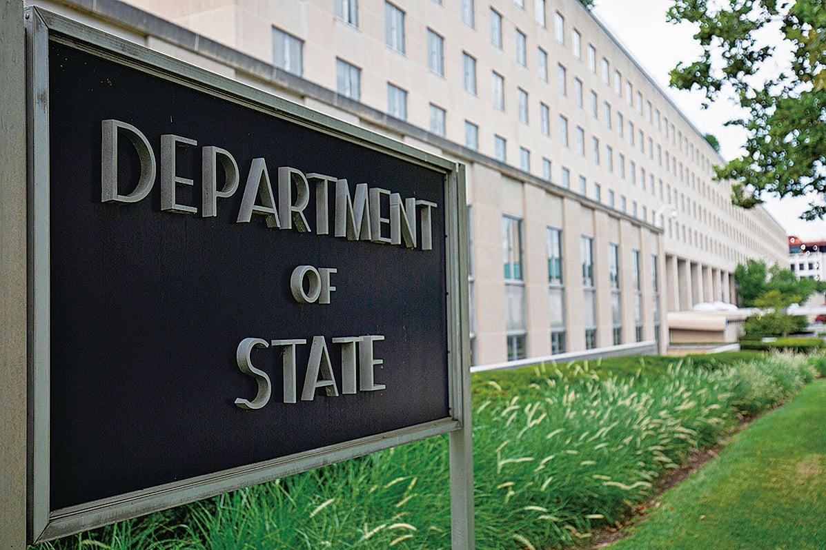 7月13日,中共制裁四位美國官員。美國國務院發言人表示,北京此舉再次說 明中共拒絕為其行為承擔責任。圖為美國國務院。(AFP)
