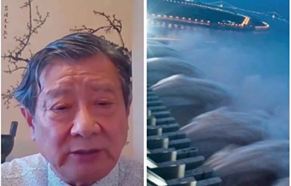黃觀鴻博士表示今年的洪水暴露三峽設計最大缺陷。(影片截圖合成)