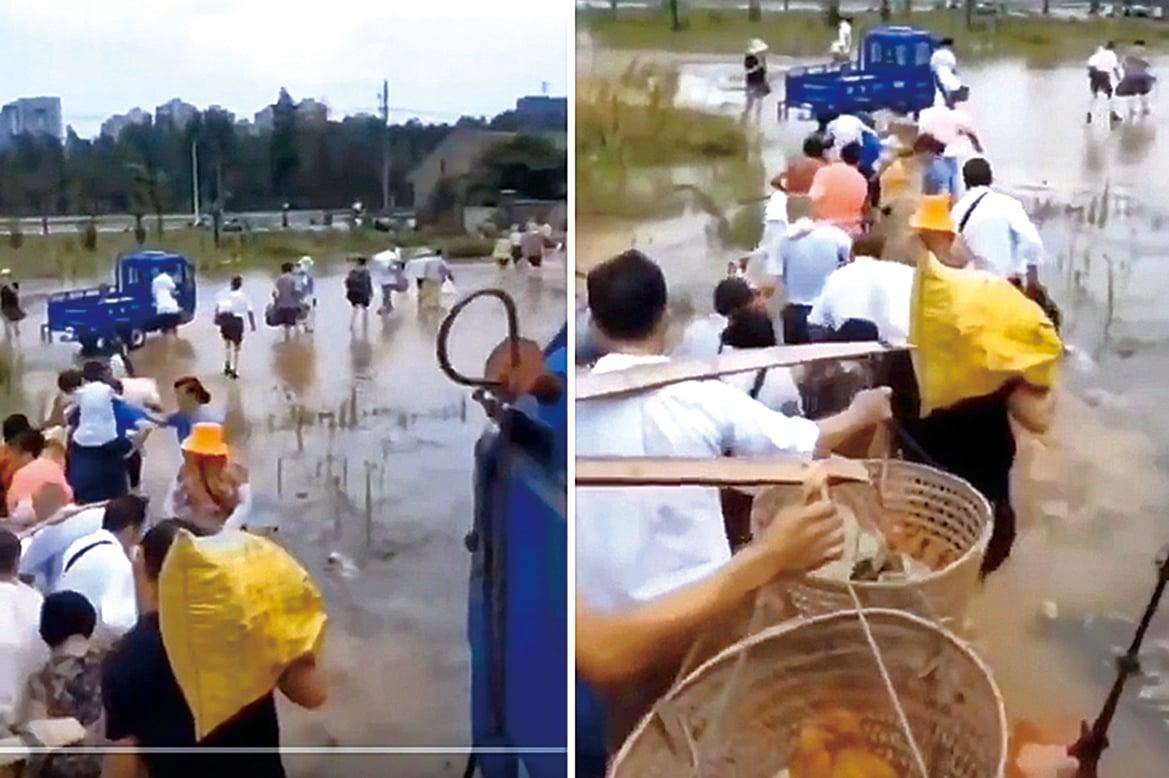 江西鄱陽湖流域近日多處傳出漫堤甚至潰堤的消息。圖為江西鄱陽湖出現重大災情後,災民逃荒避洪水。(影片截圖)