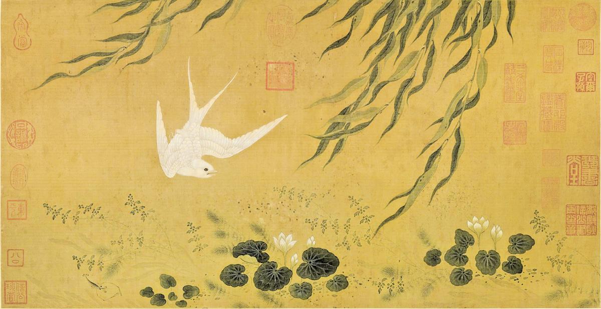 《柳塘白燕圖軸》,元人繪(公有領域)