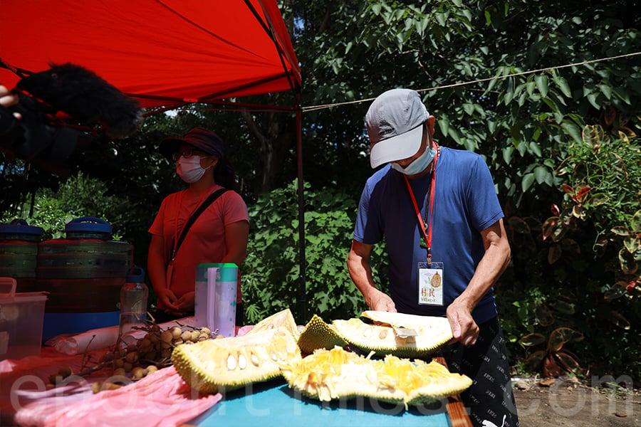 每年的「大樹菠蘿節」期間,黃先生都是「主刀」切大樹菠蘿的村民義工。(陳仲明/大紀元)
