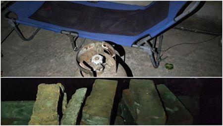 村民自衛準備的煤氣罐和磚塊。(受訪人提供)