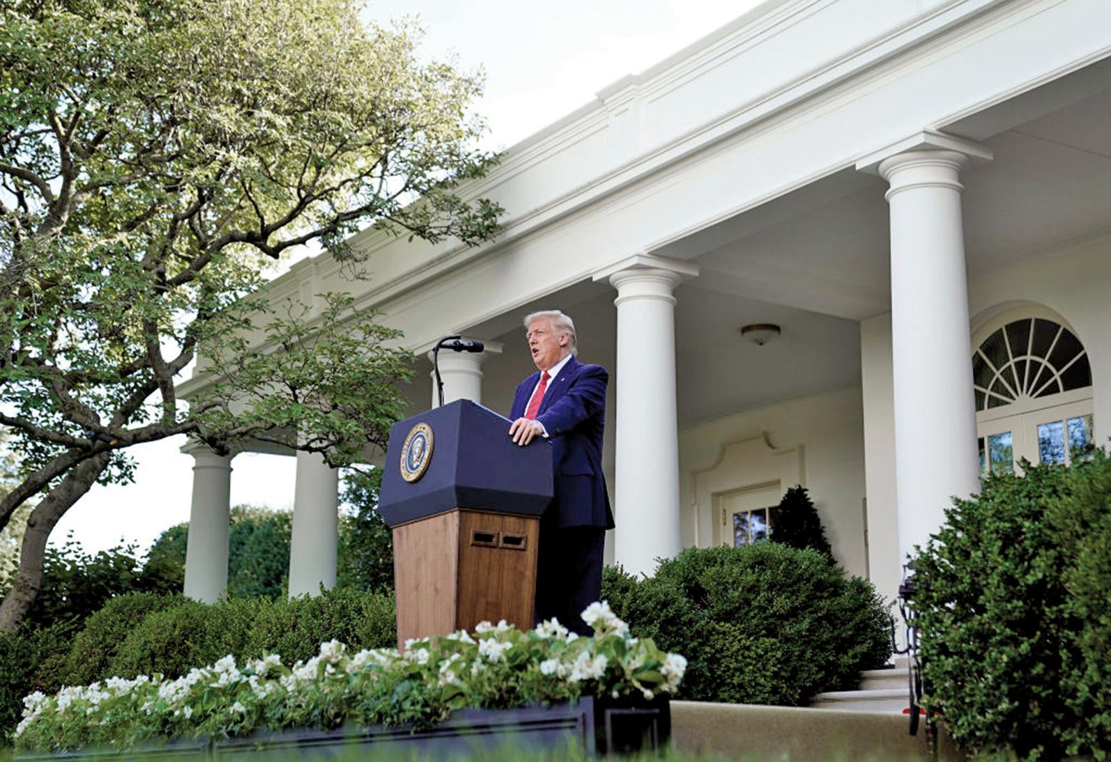 2020年7月14日,美國總統特朗普在白宮的記者會上宣布,他簽署了《香港自治法》,並簽署了一項行政命令,終止香港的特殊待遇。(Getty Images)